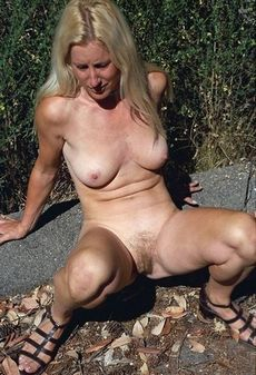 Old granny with her legs wide open..